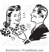 Clipart of a Retro Black and White Man Handing Money to a Woman by BestVector