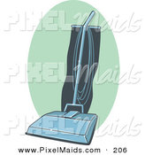 Clipart of a Retro Blue and Teal Vacuum Cleaner on a Green Oval by R Formidable