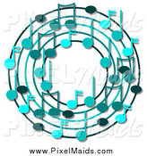 Clipart of a Ring or Wreath Made of Blue Music Notes with Shadows by Djart