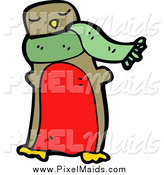 Clipart of a Robin or Penguin Wearing a Scarf by Lineartestpilot