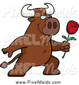 Clipart of a Romantic Brown Bull Presenting a Red Rose for His Love by Cory Thoman