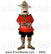 Clipart of a Royal Canadian Mounted Police (RCMP) Officer on White by Djart