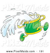 Clipart of a Running Green Bucket Splashing Water on White by Alex Bannykh