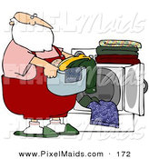 Clipart of a Santa Carrying a Basket of Laundry by a Dryer on White by Djart