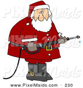 Clipart of a Santa Claus in His Red Suit, Operating a Power Washer Nozzle by Djart