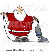 Clipart of a Santa Claus in Uniform, Vacuuming Carpet with a Vacuum by Djart