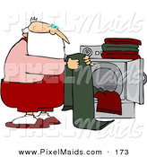 Clipart of a Santa Folding Laundry by a Dryer in the off Season by Djart