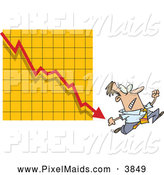Clipart of a Scared Man Running from a Bar on a Declining Graph by Toonaday