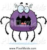 Clipart of a Scared Screaming Purple Spider by Cory Thoman