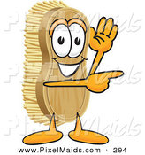 Clipart of a Scrubbing Brush Mascot Cartoon Character Waving and Pointing to the Right by Toons4Biz