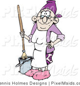Clipart of a Senior Woman Mopping a Floor and Wearing a White Apron by Dennis Holmes Designs