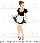 Clipart of a Sexy Maid Doing a Curtsy by Pams Clipart