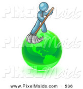 Clipart of a Shiny Denim Blue Man Using a Wet Mop with Green Cleaning Products to Clean up the Environment of Planet Earth by Leo Blanchette