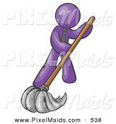 Clipart of a Shiny Purple Man Wearing a Tie, Using a Mop While Mopping a Hard Floor to Clean up a Mess or Spill by Leo Blanchette