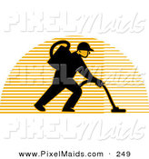 Clipart of a Silhouetted Logo of a Carpet Cleaner Man over a Lined Half Circle by Patrimonio