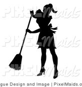 Clipart of a Silhouetted Maid Sweeping by Pams Clipart