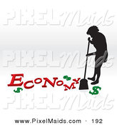 Clipart of a Silhouetted Woman Sweeping up the Economy Crisis on the Floor by Arena Creative