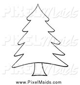 July 28th, 2015: Clipart of a Sketched Outlined Pine Tree by Hit Toon