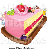 Clipart of a Slice of Strawberry Cake with Bugs by Graphics RF
