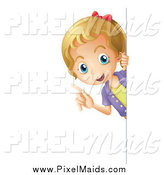 Clipart of a Smart Blond Girl Peeking Around a Sign by Graphics RF
