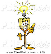 Clipart of a Smart Broom Mascot Cartoon Character with a Bright IdeaSmart Broom Mascot Cartoon Character with a Bright Idea by Toons4Biz