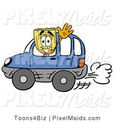 Clipart of a Smiling Broom Mascot Cartoon Character Driving a Blue Car and Waving by Toons4Biz