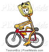 Clipart of a Smiling Broom Mascot Cartoon Character Riding a Bicycle by Toons4Biz