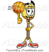 Clipart of a Smiling Broom Mascot Cartoon Character Spinning a Basketball on His Finger by Toons4Biz