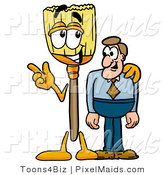 Clipart of a Smiling Broom Mascot Cartoon Character Talking to a Business Man by Toons4Biz