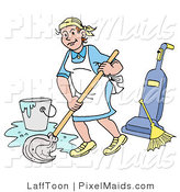 Clipart of a Smiling Caucasian Housewife, Maid, House Keeper, Custodian or Janitor Woman Mopping a Floor near a Broom and Vacuum by LaffToon