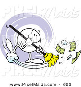 Clipart of a Smiling Character Sweeping Cash Money by Johnny Sajem