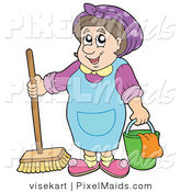 Clipart of a Smiling Cleaning Lady with a Bucket and Broom by Visekart