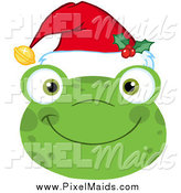 October 11th, 2014: Clipart of a Smiling Happy Christmas Frog Face by Hit Toon