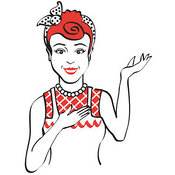 Clipart of a Smiling Red Haired Housewife, Waitress or Maid Woman Wearing an Apron and Resting One Hand on Her Chest While Holding the Other Hand up by Andy Nortnik
