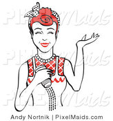 Clipart of a Smiling Red Haired Woman Using a Salt Shaker While Cooking by Andy Nortnik