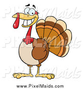 Clipart of a Smiling Thanksgiving Turkey Bird by Hit Toon