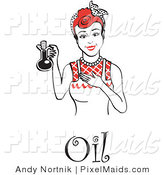 Clipart of a Smiling Woman in an Apron, Holding up a Bottle of Cooking Oil, with Text by Andy Nortnik