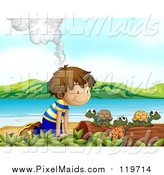 November 8th, 2015: Clipart of a Smoking Volcano Behind a White Boy Watching Turtles on a Beach by Graphics RF