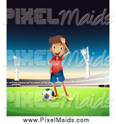 Clipart of a Soccer Boy in a Stadium at Dusk by Graphics RF