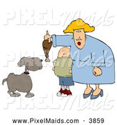 Clipart of a Son Watching Mom Feed Pet Dog a Large Turkey Leg by Djart