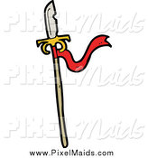 Clipart of a Spear with a Red Ribbon by Lineartestpilot