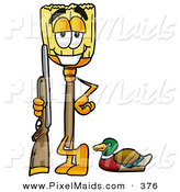 Clipart of a Sporty Broom Mascot Cartoon Character Duck Hunting, Standing with a Rifle and Duck by Toons4Biz