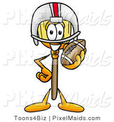 Clipart of a Sporty Broom Mascot Cartoon Character in a Helmet, Holding a Football by Toons4Biz
