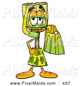 Clipart of a Sporty Broom Mascot Cartoon Character in Green and Yellow Snorkel Gear by Toons4Biz