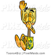Clipart of a Sporty Broom Mascot Cartoon Character Plugging His Nose While Jumping into Water by Toons4Biz