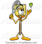 Clipart of a Sporty Broom Mascot Cartoon Character Preparing to Hit a Tennis Ball by Toons4Biz