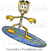 Clipart of a Sporty Broom Mascot Cartoon Character Surfing on a Blue and Yellow Surfboard by Toons4Biz
