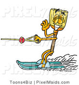 Clipart of a Sporty Broom Mascot Cartoon Character Waving While Water Skiing by Toons4Biz