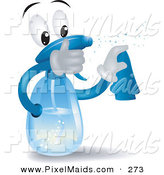 Clipart of a Spray Bottle Character Squirting and Wiping by BNP Design Studio