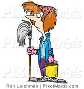 Clipart of a Spring Cleaning Housewife by Toonaday